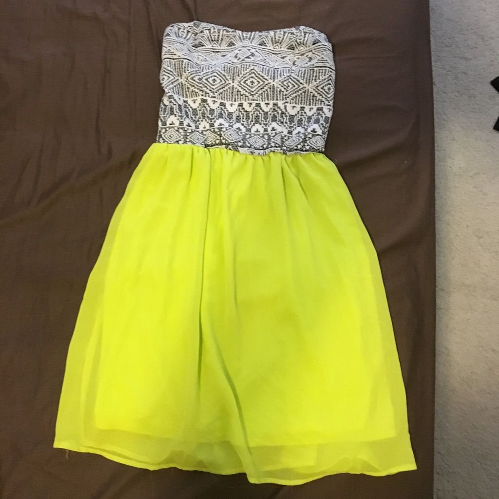 Strapless neon green black and white dress neon green and products