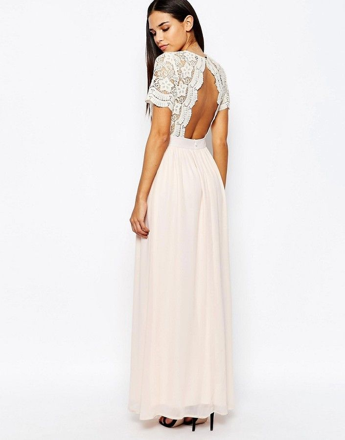 d6b8b1bcb4 Club L Maxi Dress with Scallop Crochet and Open Back | Dresses ...
