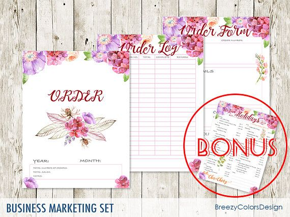 Set Of  Marketing Kit Craft Show Printable Order Form Template