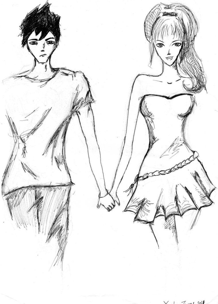 Boy And Girl Holding Hands Anime Sketch  How To Draw Video