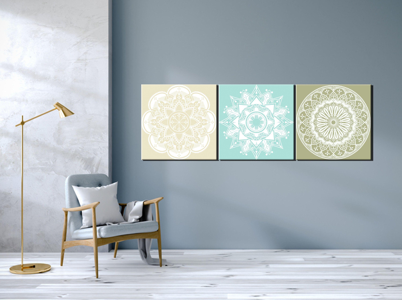 Mandala Wall Art Aqua Beige Green Wall Decor Canvas Or Print Etsy Green Wall Decor Canvas Art Wall Decor Wall Decor Bedroom