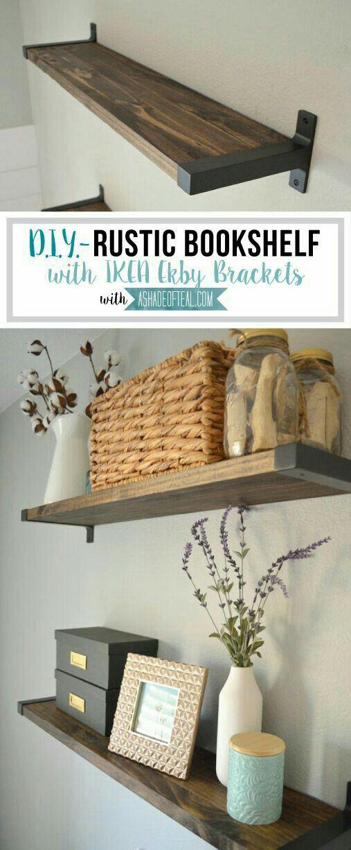 office wall shelf. Rustic DIY Bookshelf With IKEA Ekby Brackets. Learn How To Find Wood That Actually Fits The Brackets! Office Wall Shelf