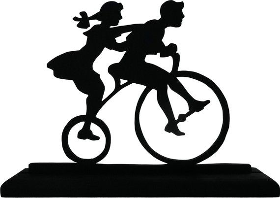 Two Children On A Tricycle Handmadedisplay Silhouette