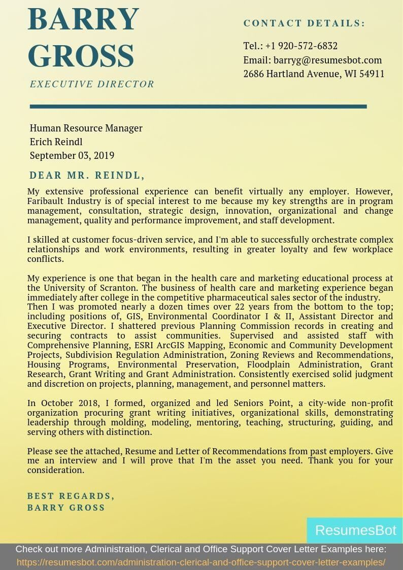 Executive director cover letter samples templates pdf