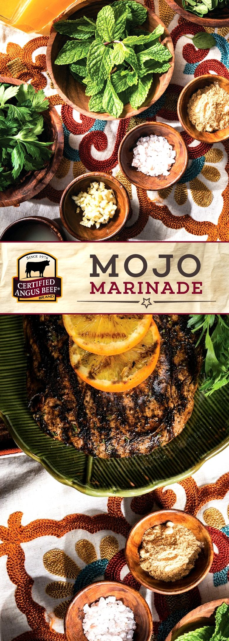 Certified Angus Beef®️️ brand Mojo Marinade is packed with FRESH herbs, orange juice, and a deeply flavorful seasoning mix for a DELICIOUS marinade! Enhance the flavor of your favorite cut of beef with this tasty marinade.  #bestangusbeef #certifiedangusbeef #marinade #seasoning #marinadeforbeef
