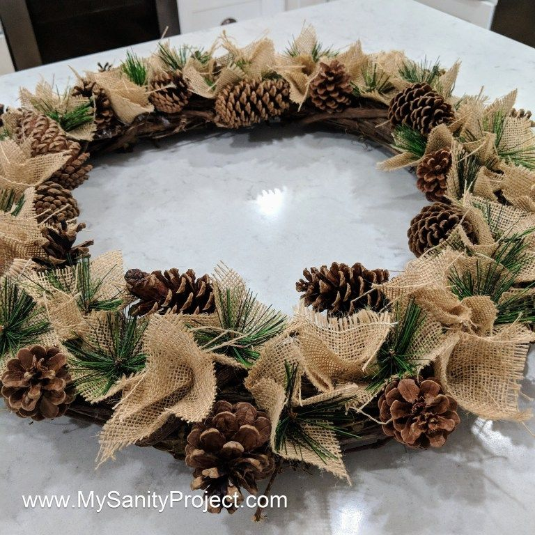 Burlap Pine-cone Christmas Wreath -   16 holiday Wreaths pine cones ideas