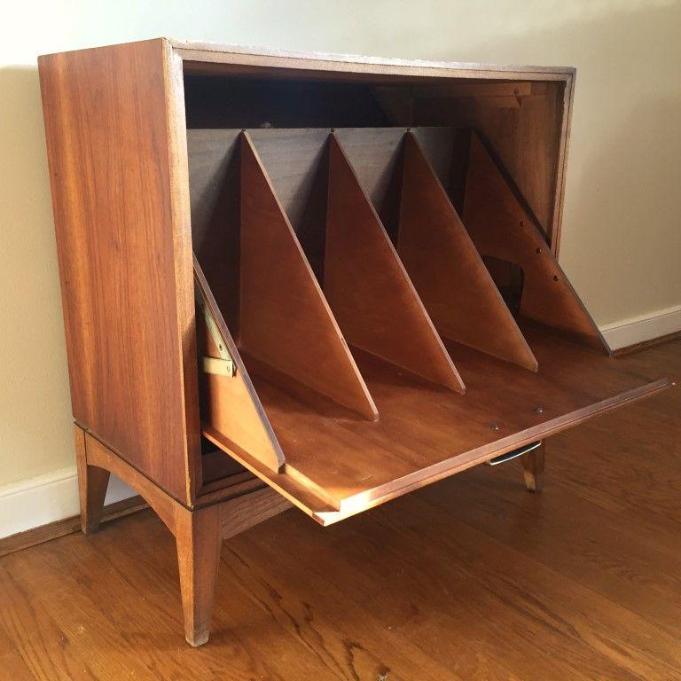 Mid Century Drop Front Walnut Record Storage Cabinet By Lane Record Storage Vinyl Record Storage Vinyl Storage