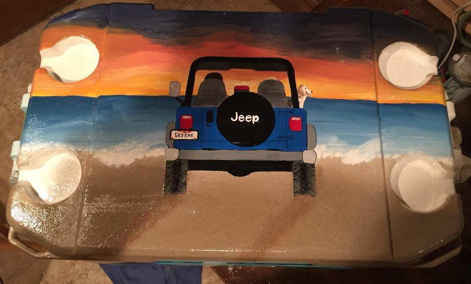 Jeep On Beach Painting