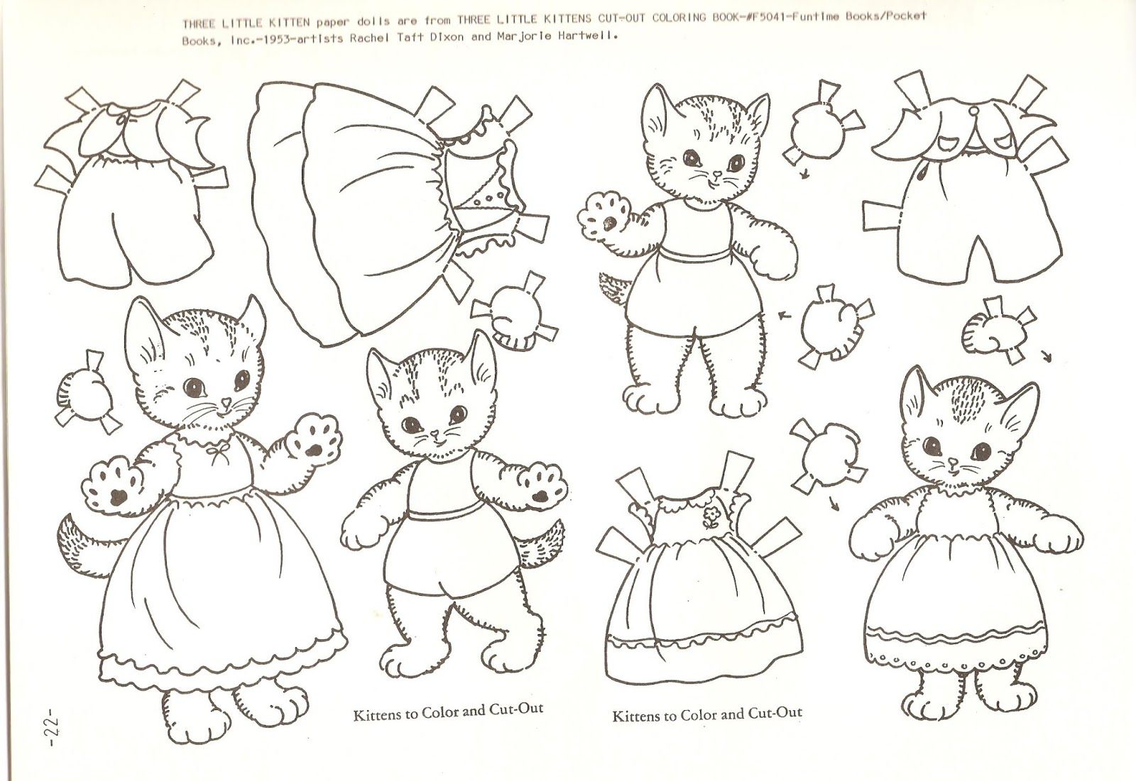 Your Dress And Dolly S Three Little Kittens Betty J Rotent Here Are A Few Paper Doll Pages Scanned From T Paper Dolls Vintage Paper Dolls Paper Dolls Printable