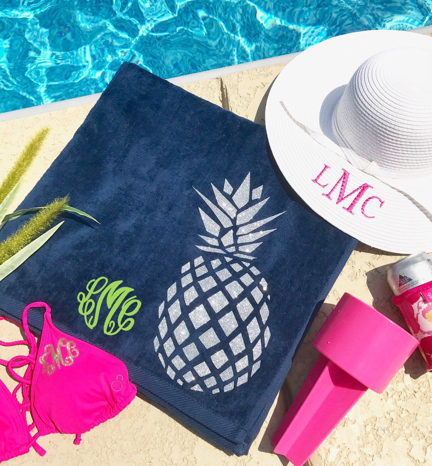 Monogrammed Beach Towels Pinele Towel 6 Colors Personalized Bachelorette Party Gifts Pool Tropical