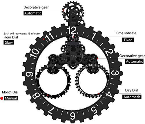 Wall Gear Clock with Moving Gears, Smart Quartz, 3D, Quiet