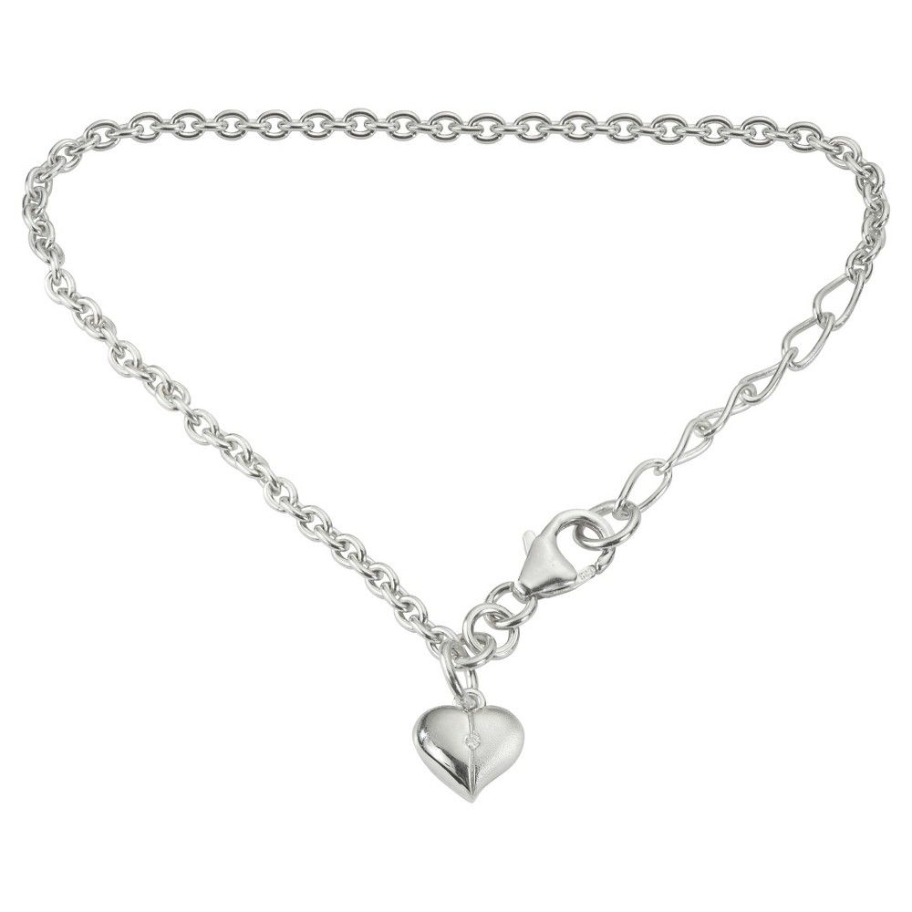 Girlus diamond accent heart charm bracelet in sterling silver