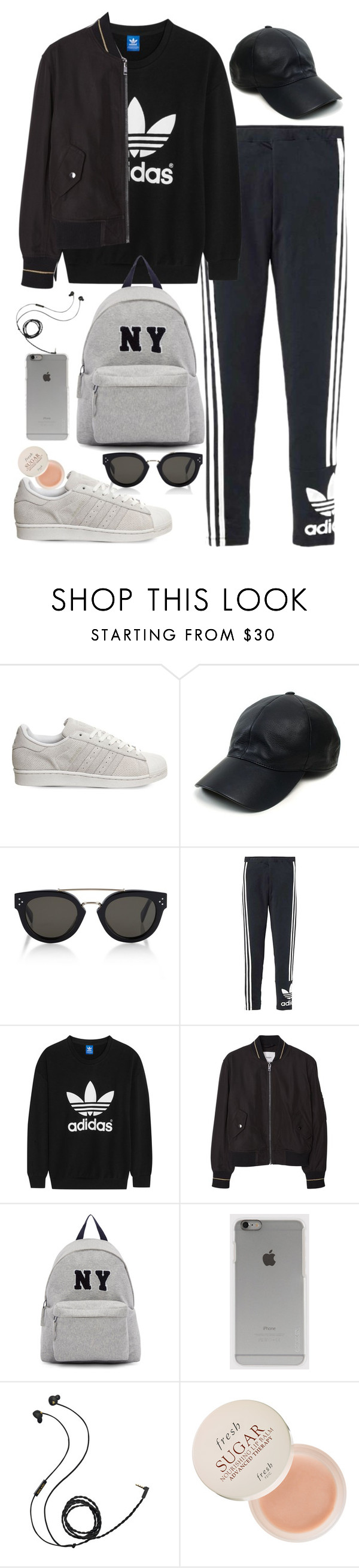 """""""Untitled #477"""" by flawedparadise ❤ liked on Polyvore featuring adidas, Vianel, CÉLINE, adidas Originals, MANGO, Joshua's, Incase, Molami, Fresh and women's clothing"""