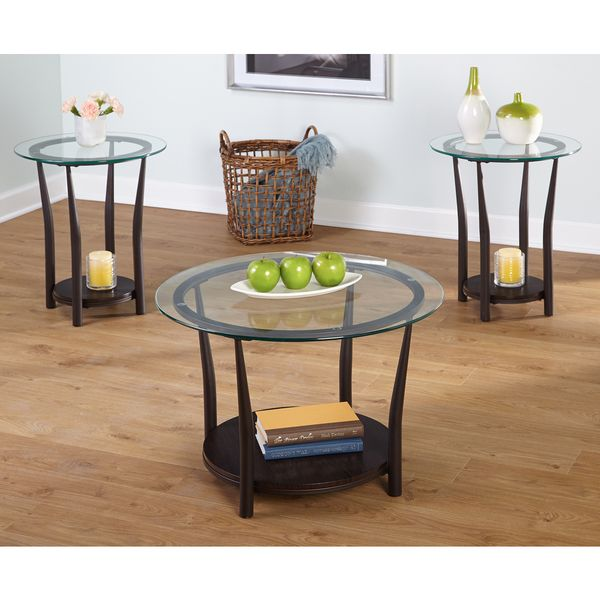 Living Room 3 Piece Table Sets simple living dark brown 3-piece cora end and coffee table set