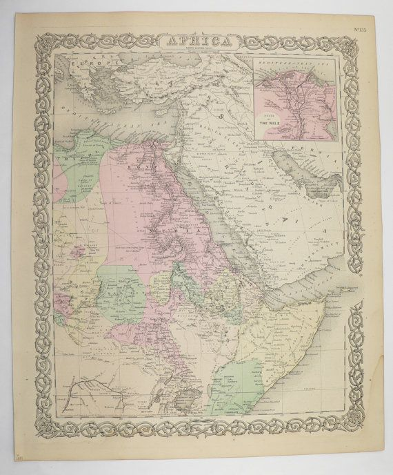 Antique africa map egypt nile river somalia map ethiopia 1881 antique africa map egypt nile river somalia map ethiopia 1881 colton map africa gift for traveler vintage decor gift for coworker gumiabroncs Images