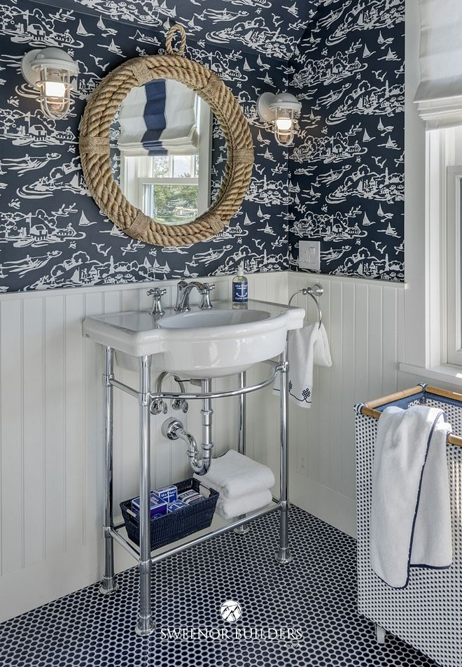 Bathroom features a nautical motif and beadboard wainscoting ... on nautical vanity, nautical siding, nautical basement, nautical cornices, nautical flooring, nautical shelving, nautical lighting, nautical tile, nautical ceiling, nautical shadow boxes,