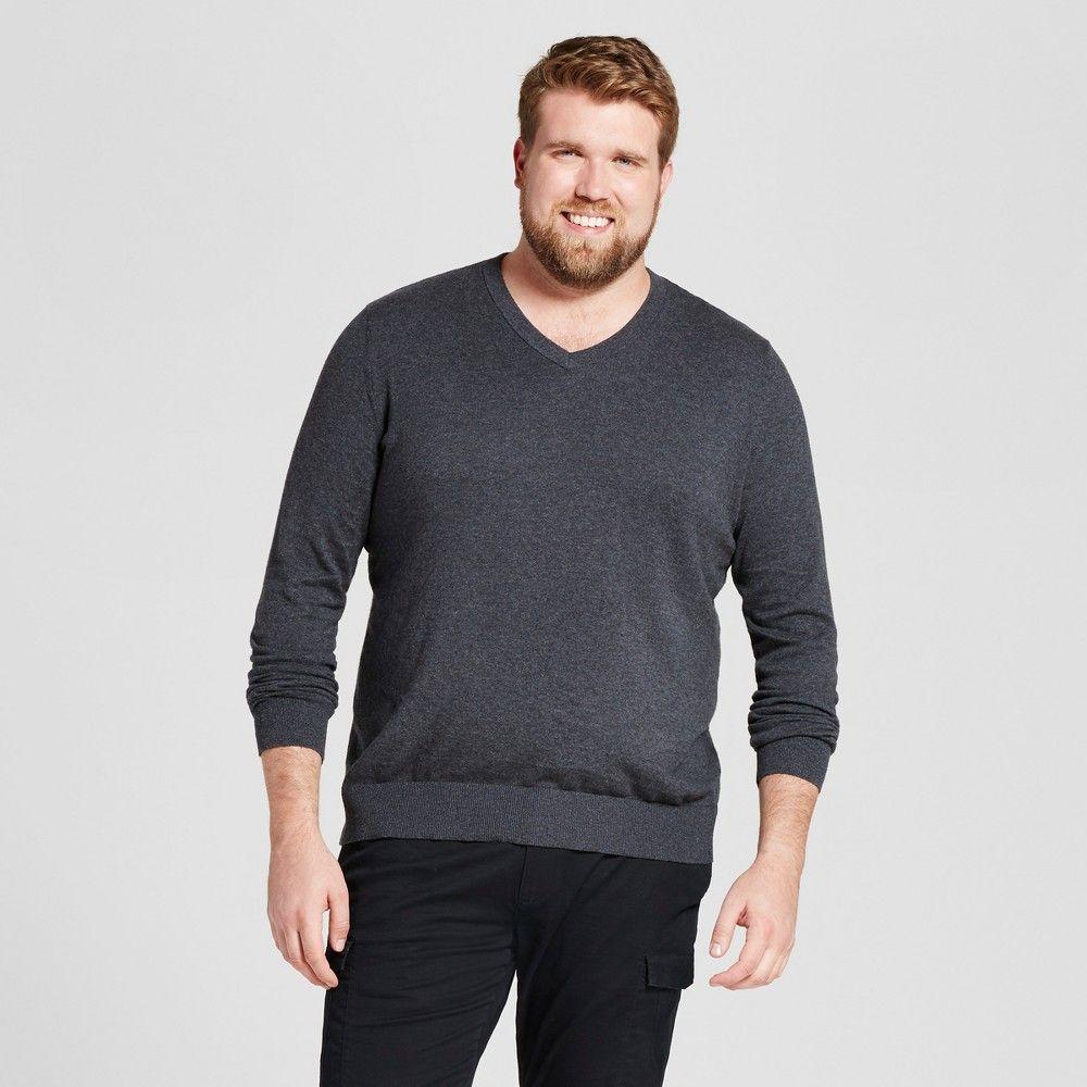 c56ebd76f8 Men s Big   Tall Standard Fit V-Neck Sweater - Goodfellow   Co Heather  Black 3XBT