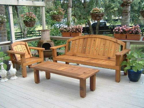 Ordinaire Solid Wood Western Red Cedar Patio Set Outdoor Benches Garden Furniture  Ideas