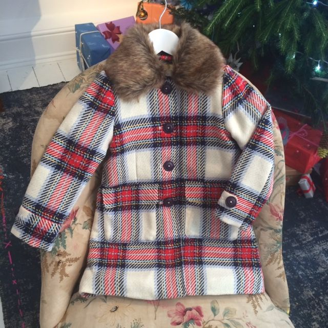 Cozy next to the tree cool Mini Boden plaid coat for Christmas 2015 at Boden kids fashion