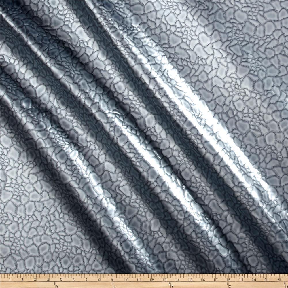 Laguna Crocodile Vinyl Silver Vinyl Fabric Fabric Crocodile