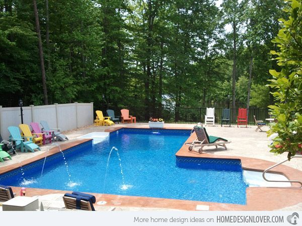 15 Lazy L Swimming Pool Designs | Pool shapes, Swimming pools and ...