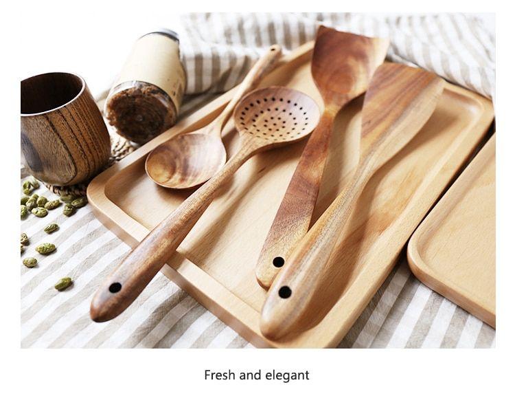 Thailand Teak Natural Wood Tableware Spoon Ladle Turner Long Rice Colander Soup