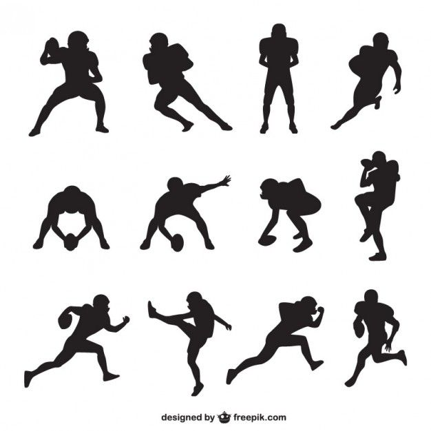 American Football Player Silhouettes Collection Freepik Com Sports