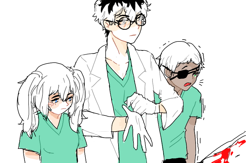 Saiko, Sasaki, and Mutsuki ||| Hospital AU ||| Tokyo Ghoul: Re Fan Art by junetg
