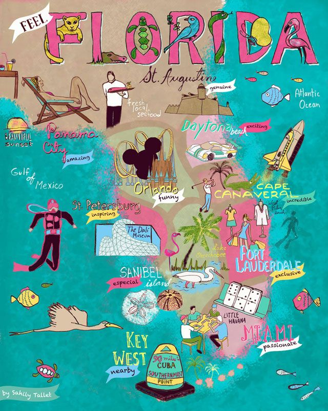 "Illustrated Map ""Feel Florida"" by Sahily Tallet"