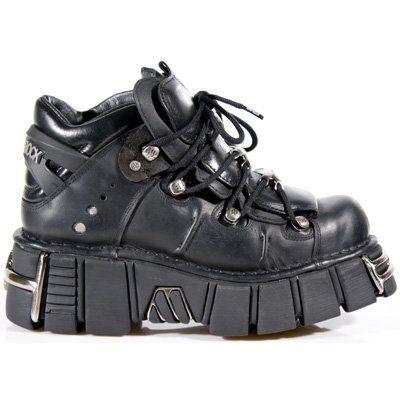 NEWROCK New Rock 106 Metallic Black Leather Biker Gothic Boots (UK 8/EU 42