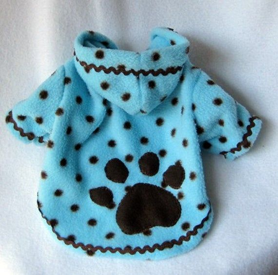 Photo of Artículos similares a Dog Fleece Hoodies Blue with Brown Pol…