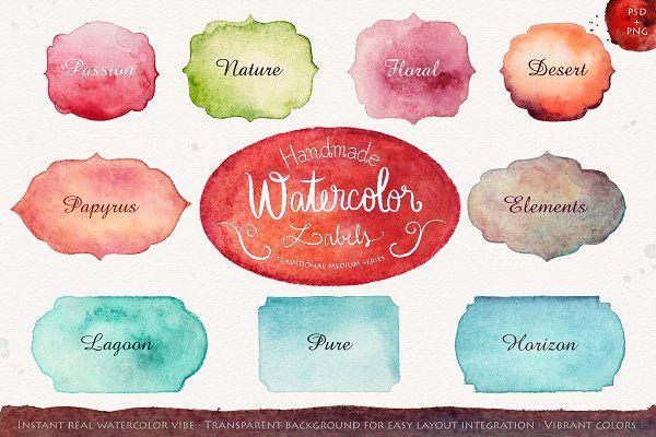 Handmade watercolor labels - Illustrations