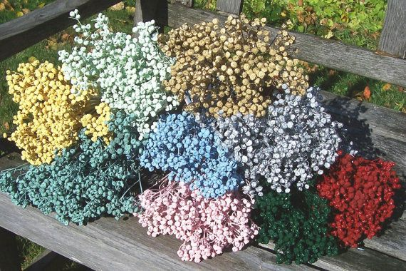 Dried, painted, Tansy flowers. Unique. Use in floral arrangements or bouquets or in craft projects. At least 12 stems in a bunch, 14 inches