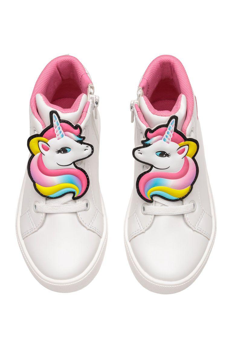 Buty Sportowe Do Kostki Bialy Jednorozec Dziecko H M Pl Girls Shoes Kid Shoes Unicorn Kids