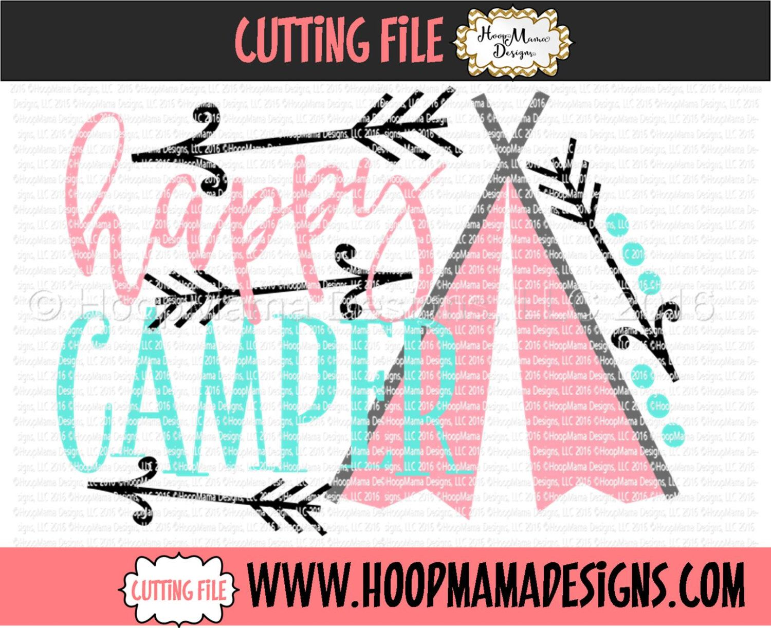 Happy Camper With TeePee SVG DXF Eps And Png Files For Cutting Machines Cameo Or Cricut By HoopMamaSVG On Etsy