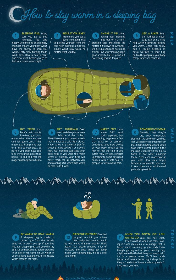 8e33efa0a7a How to stay warm in a sleeping bag - 11 handy camping tips on staying warm  on even the coldest of nights winter camping - infographic tutorial