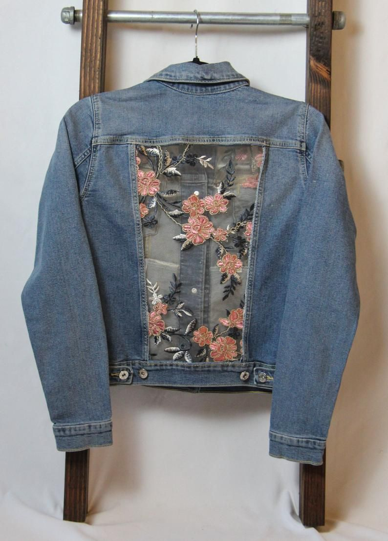 Xs Denim Jacket With Sparkly Pink Lace Made To Order Lace Etsy Embellished Denim Jacket Diy Jacket Diy Denim Jacket [ 1109 x 794 Pixel ]