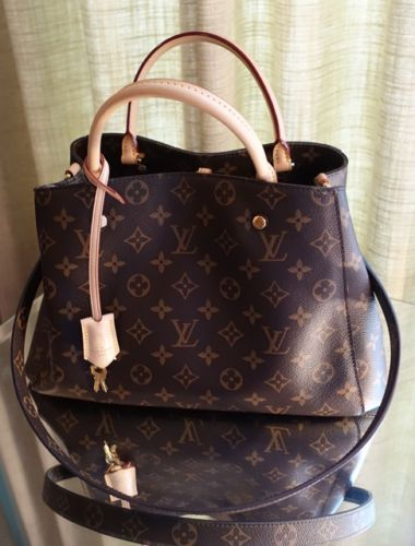 13bc9ab8f3 Louis-Vuitton-Montaigne-MM-Brown-Monogram-Canvas-Bag-w-Vachetta-Handles