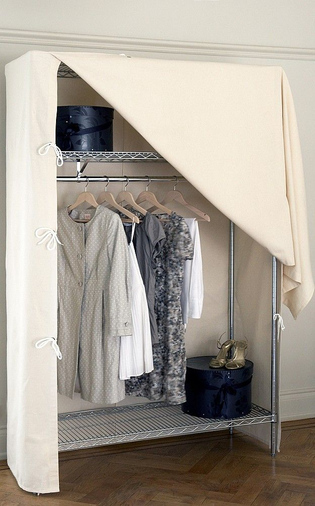 Chrome Wardrobe With Shelves And Canvas Cover Canvas Wardrobe