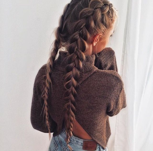 thick upside down double braids | Hair styles