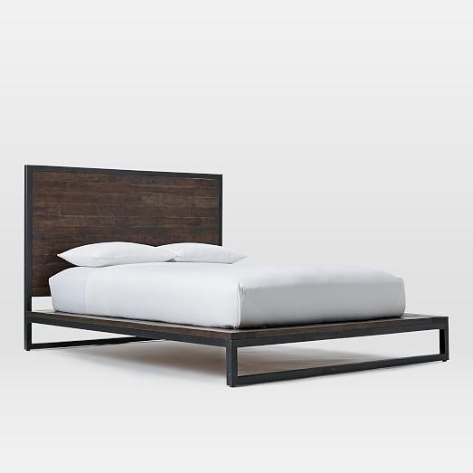 Logan Industrial Platform Bed   Smoked Brown