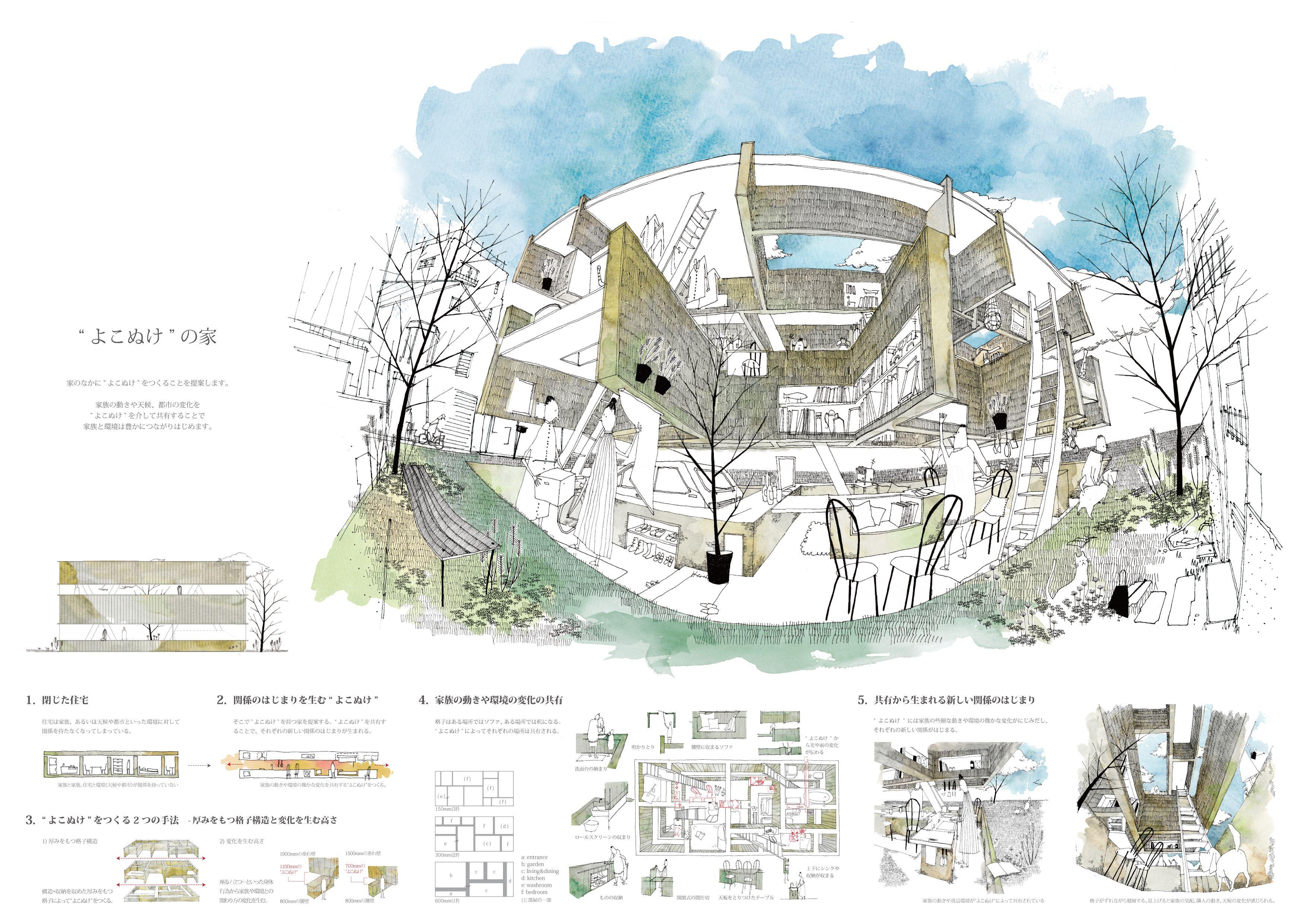 ケンチクイラストレーター イスナデザイン よこぬけの家 建築