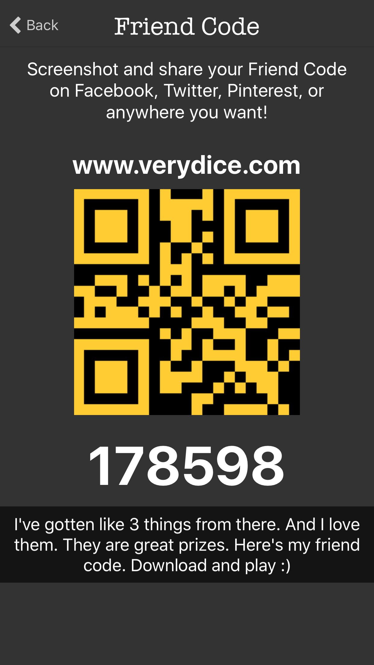 "FREEEEEE So there's this new app called ""verydice"" and all"