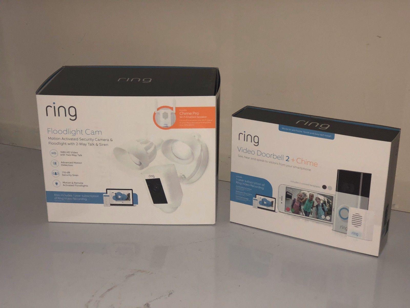 Ring Wireless Video Doorbell 2 Ring Floodlight Camera W Bonus Chime Pro Combo Video Doorbell Wireless Video Doorbell Doorbell