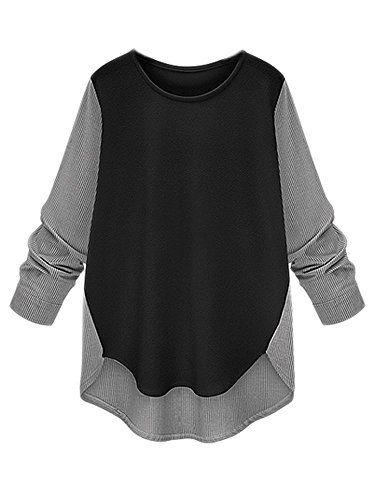 Loose Women Stripe Patchwork Irregular Hem Long Sleeve Bottoming T-Shirt - http://bigboutique.tk/product/loose-women-stripe-patchwork-irregular-hem-long-sleeve-bottoming-t-shirt/
