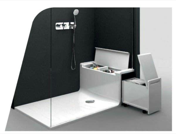 Hide seat plato ducha con asiento de almacenaje detalle for Diseno de banos con plato de ducha