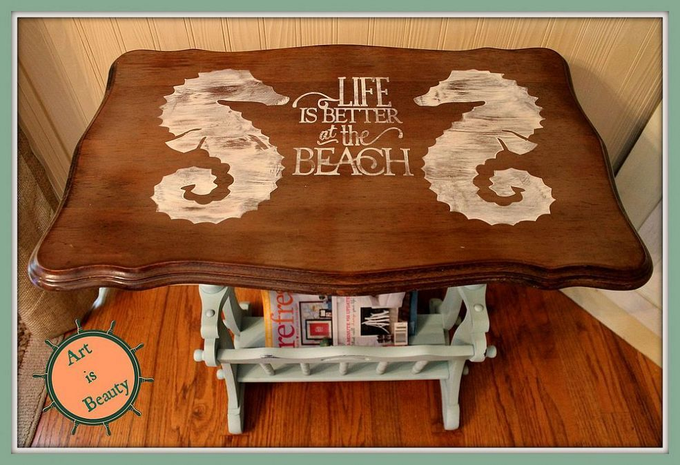 Best Sea Horse Beachy Magazine Rack End Table Makeover End 400 x 300