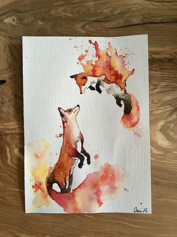 Aquarell Painting Art Original Foxtrott 24x17 Kunstmalerei