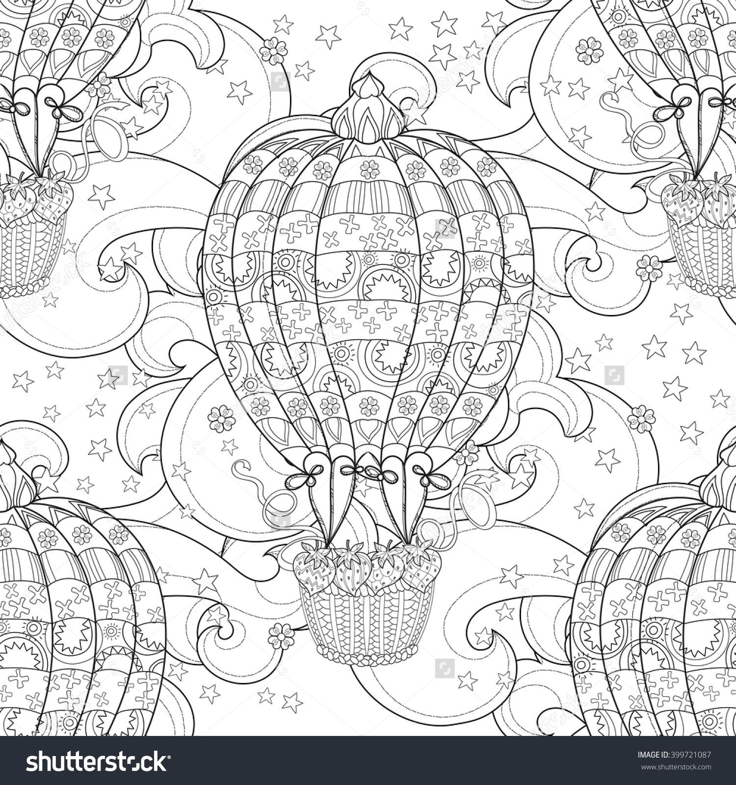The coloring book poster - Hand Drawn Doodle Outline Air Baloon In Flight Decorated With Floral Ornaments Zentangle Illustration