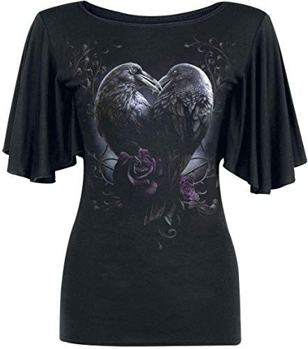 Photo of New Spiral – Raven Heart – Boat Neck Bat Sleeve Top Black Plus Size – 3XL online – Favortrendyfashion